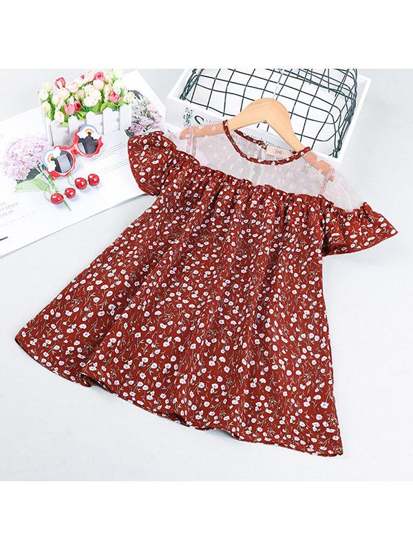 【18M-7Y】Girls Mesh Stitching Short-sleeved Flower Dress