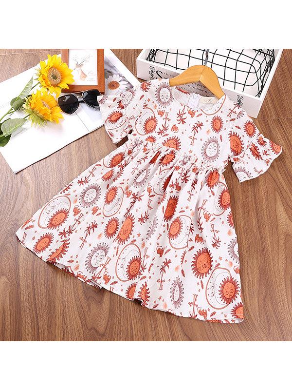 【2Y-9Y】Girls Flower Short-sleeved Dress