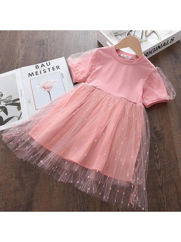 【2Y-9Y】Girls Puff Sleeve Mesh Pure Color Dress