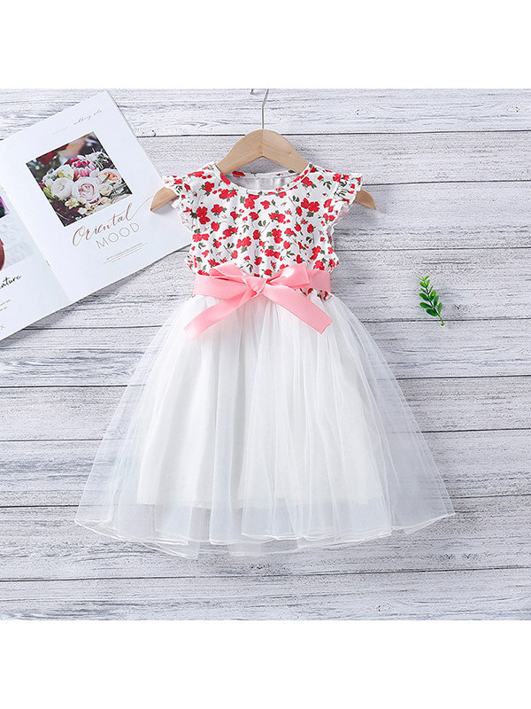 【12M-5Y】Girls Flower Stitching Mesh Dress