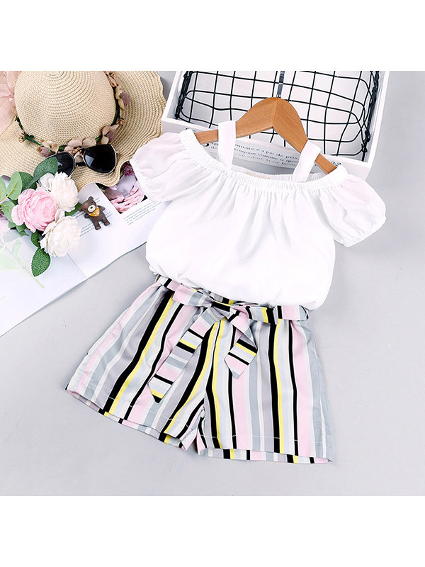 【18M-7Y】Girls One-shoulder Short-sleeved Top Striped Shorts Two-piece Suit