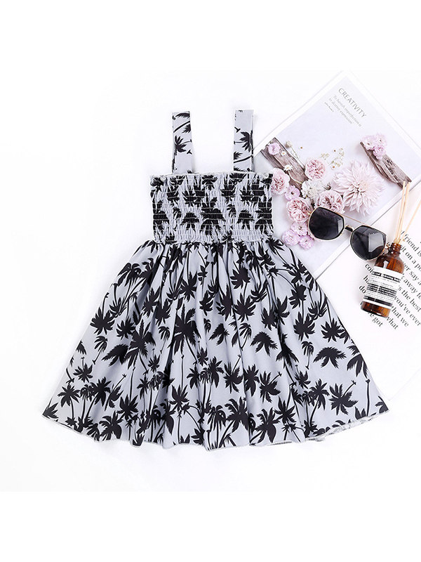 【18M-7Y】Girls' Leaf Print Sleeveless Dress