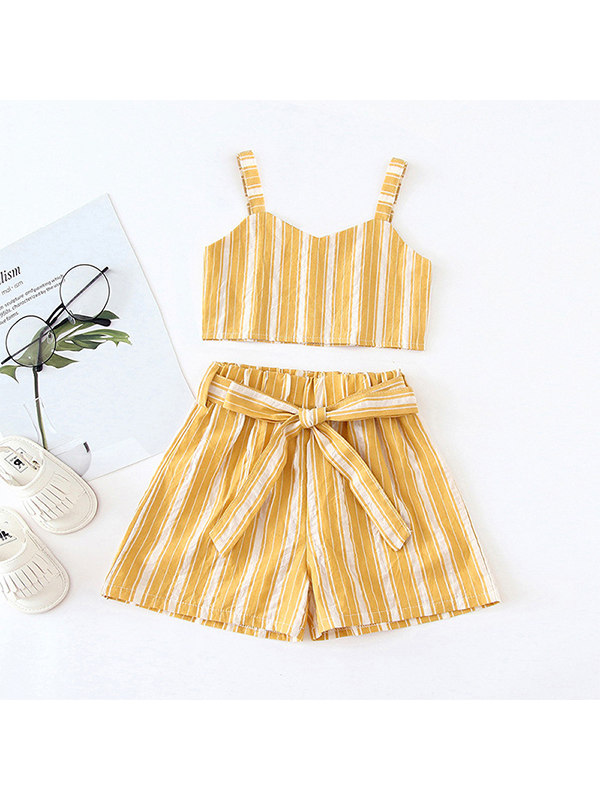 【12M-5Y】Girls Striped Tank Top and Shorts Two-piece Suit