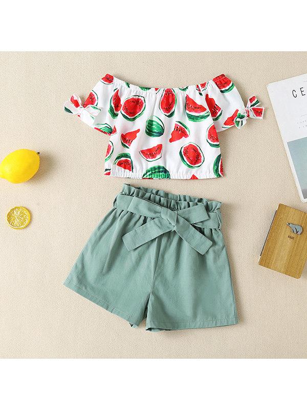 【18M-7Y】Girls Watermelon Print Short Sleeve T-shirt Shorts Set