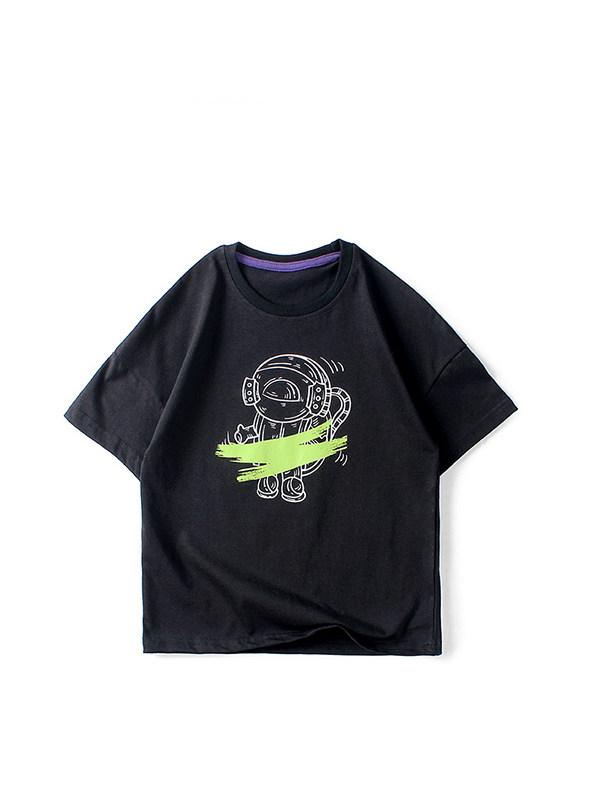 【4Y-13Y】Boys Cartoon Print Short Sleeve T-shirt