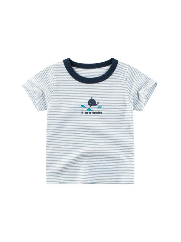 【18M-7Y】Boys Striped Printed Letters Cartoon Printed Short Sleeve T-shirt