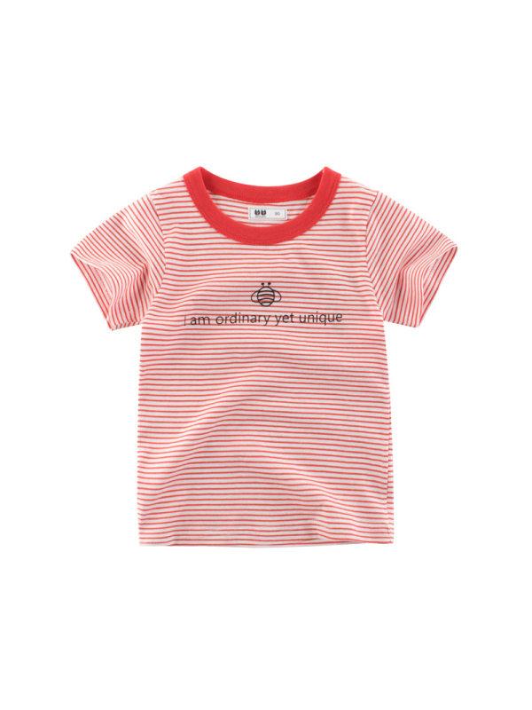 【18M-9Y】Boys Striped Letter Print Short Sleeve T-shirt