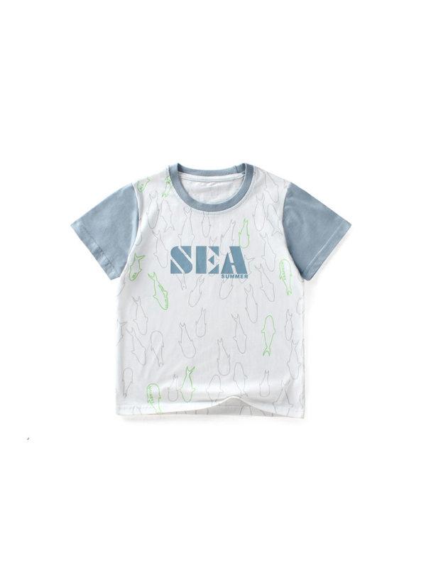 【4Y-13Y】Boys Contrast Color Stitching Cartoon Print Short Sleeve T-shirt