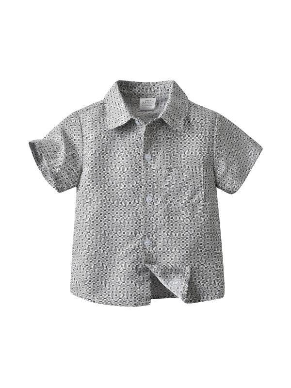 【18M-7Y】Boy's Small Square Retro Flower Short Sleeve Shirt
