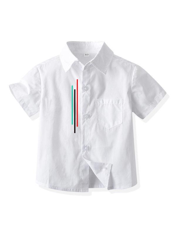 【12M-9Y】Boys' Vertical Striped Print Short Sleeve Shirt