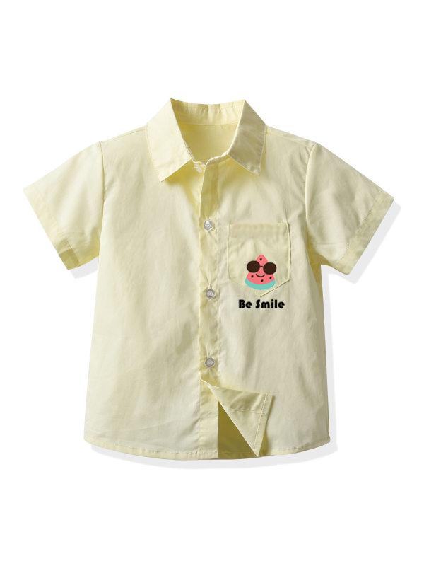 【2Y-9Y】Boys' Cartoon Print Short-sleeved Shirt