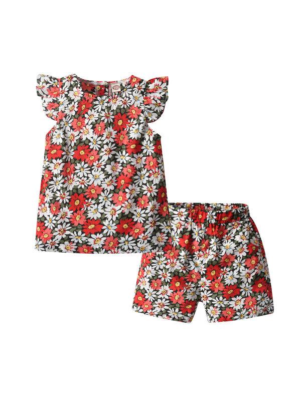 【18M-7Y】Girls' Floral Lace Go Out Loose Two-piece Suit