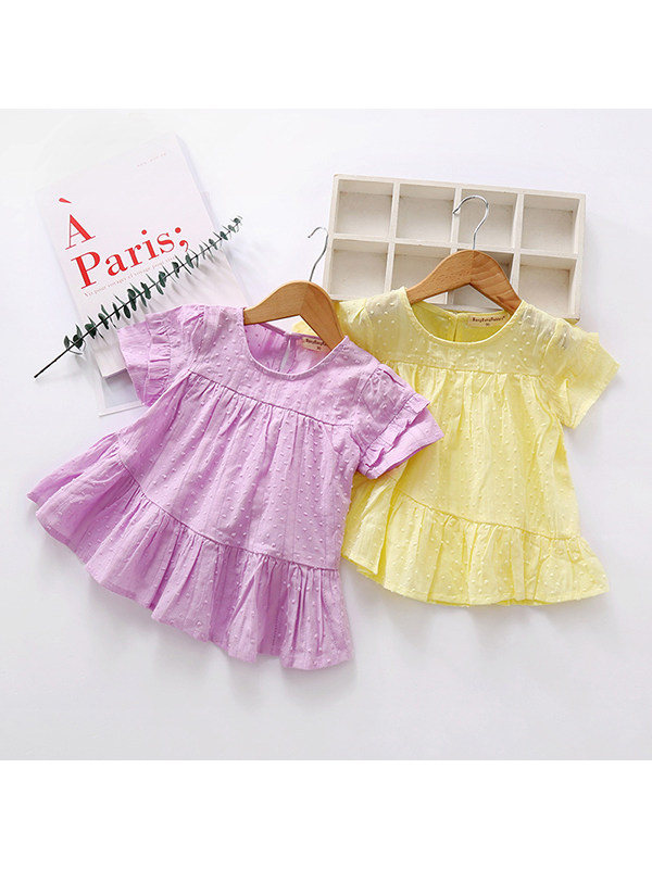 【18M-7Y】Girls Round Neck Solid Color Doll Shirt Dress