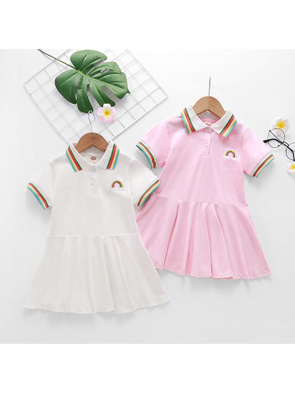 【18M-7Y】Girls Lapel Short Sleeve Rainbow Print POLO Dress