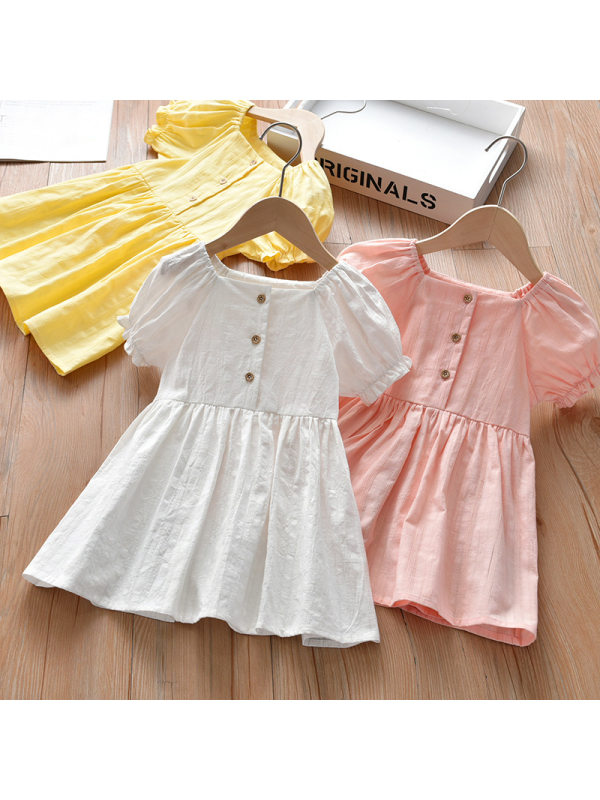 【18M-7Y】Sweet Pure Color Puff Sleeve Dress