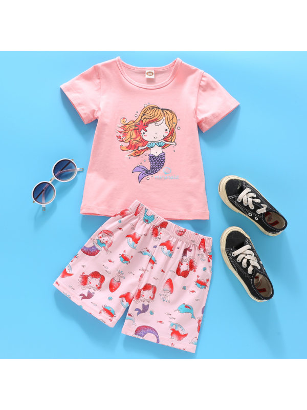 【18M-9Y】Cute Cartoon Print Round Neck Short-sleeved T-shirt And Shorts Set