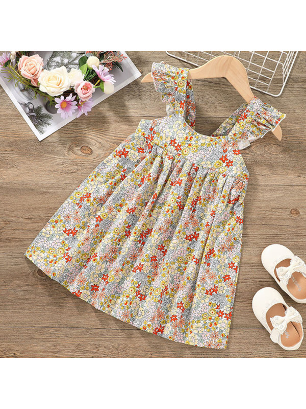 【12M-5Y】Girl Sweet Yellow Floral Dress