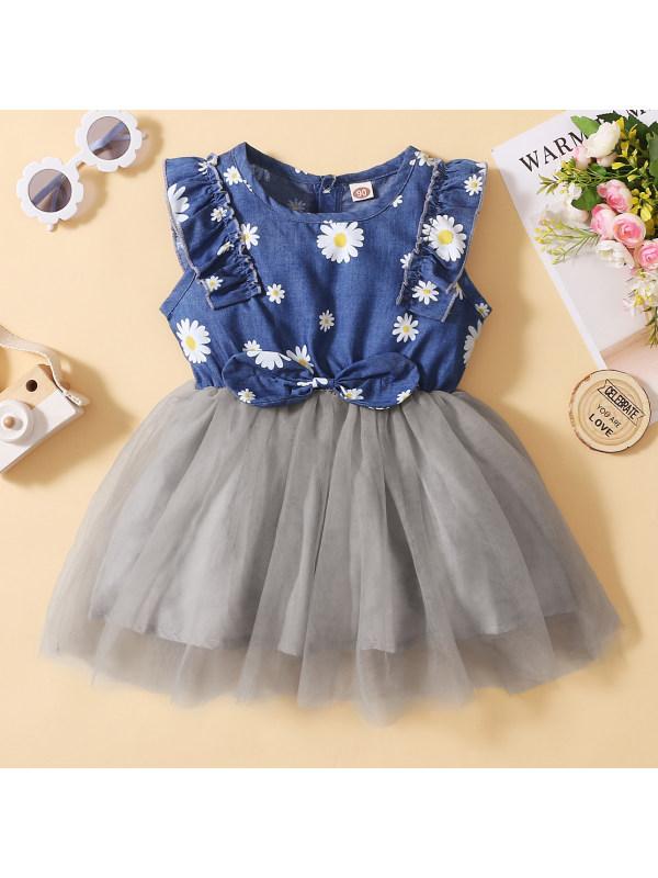 【12M-7Y】Cute Floral Print Denim Dress
