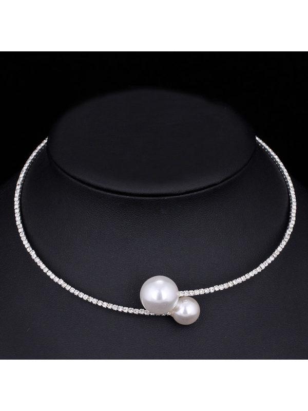 Elegant Shiny Rhinestone Pearl Single Row Necklace Necklace