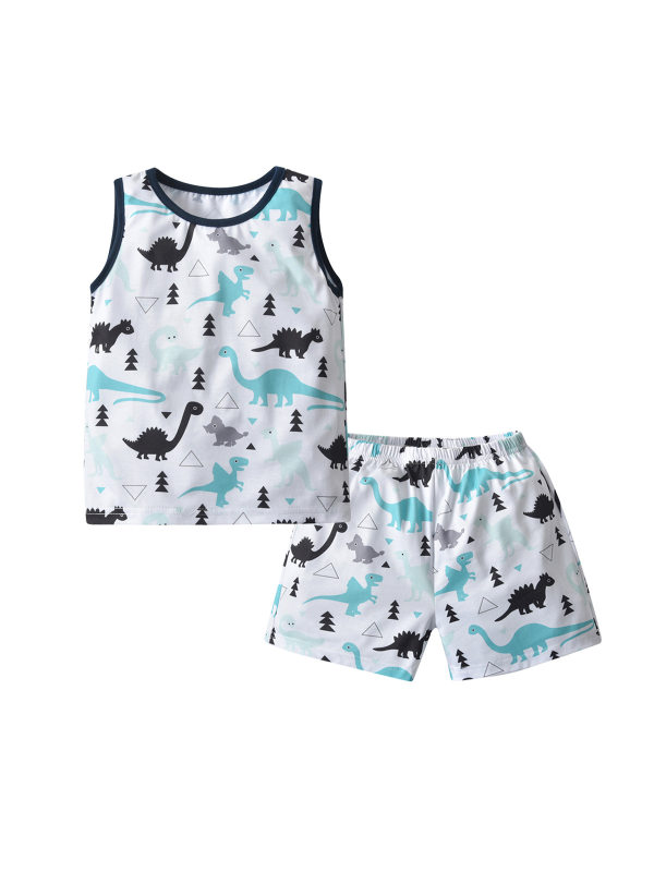 【18M-7Y】Boy's Dinosaur Print Tank Top And Shorts Two-piece Suit