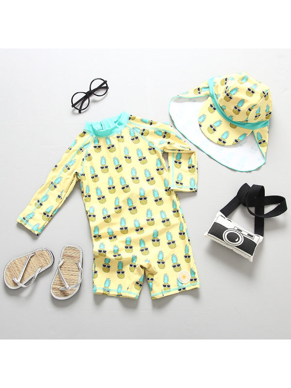 【18M-7Y】Boys' Pineapple Print One-piece Swimsuit