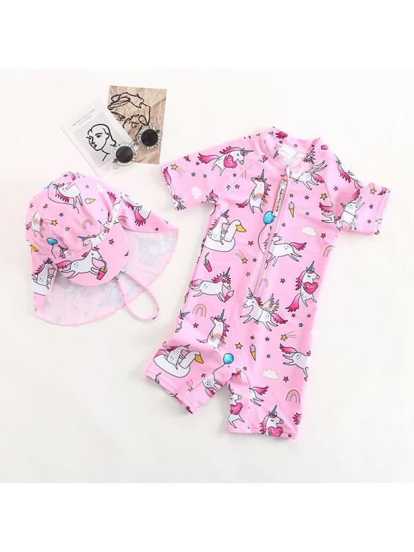 【18M-7Y】Girls Pink Rainbow Unicorn One-piece Swimsuit
