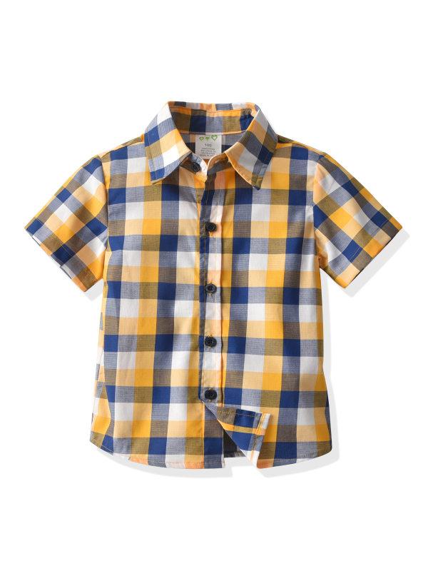 【18M-9Y】Boys Check Short Sleeve Shirt