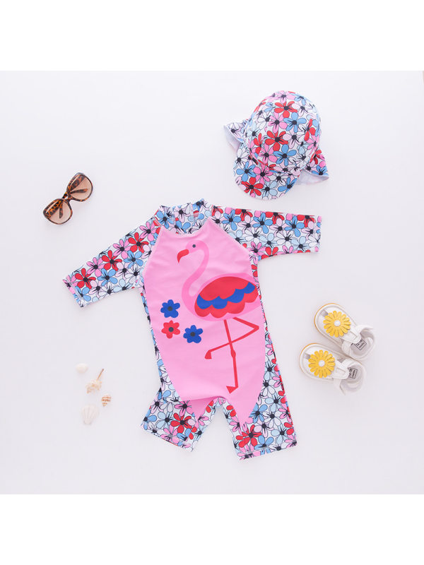 【18M-7Y】Girls Flamingo Print One-piece Long-sleeved Beach Suit Sunscreen Swimsuit With Hat