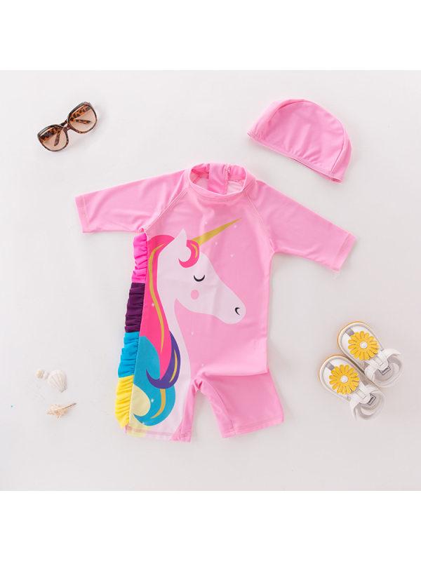 【90-130cm】Girls unicorn cartoon print one-piece swimsuit