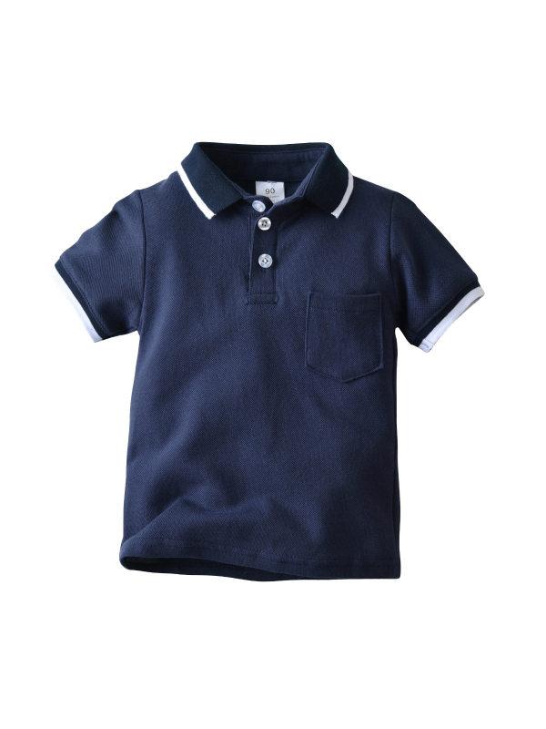 【12M-9Y】Boys' Contrasting Lapel Polo Shirt