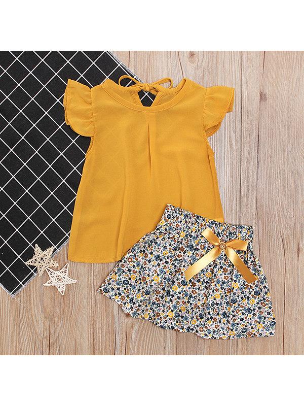 【18M-5Y】Girls Little Flying Sleeve Tops Bowknot Floral Short Skirt Set