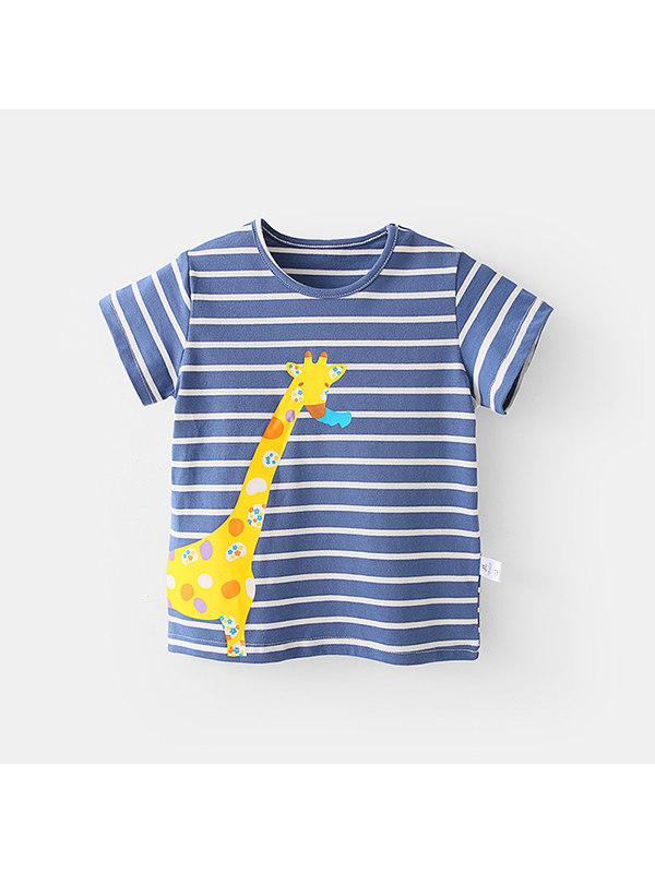 【12M-7Y】Boys Cartoon Print Striped T-shirt