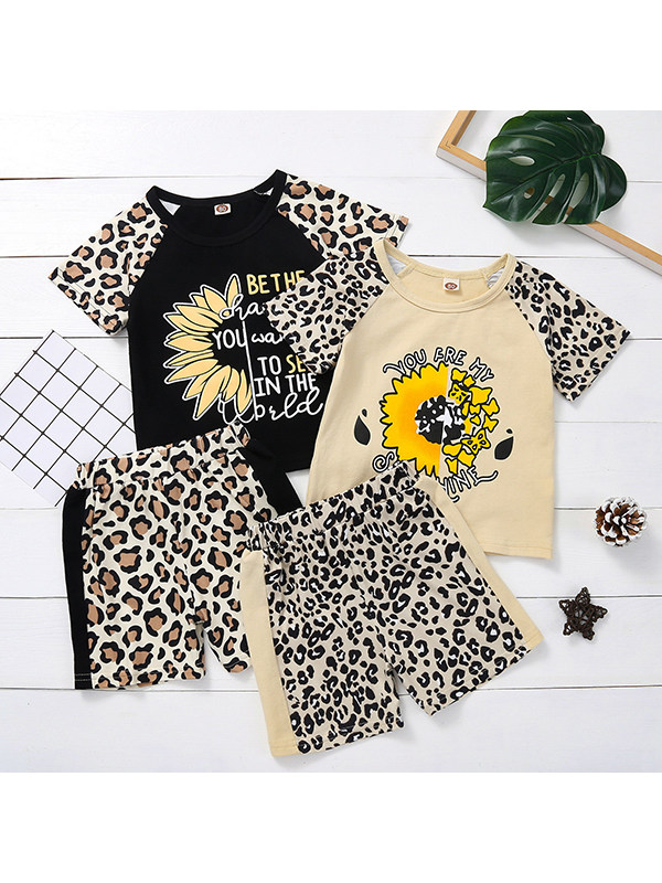 【12M-4Y】Girls Round Neck Short-sleeved Leopard Print Stitching and Shorts Two-piece Suit