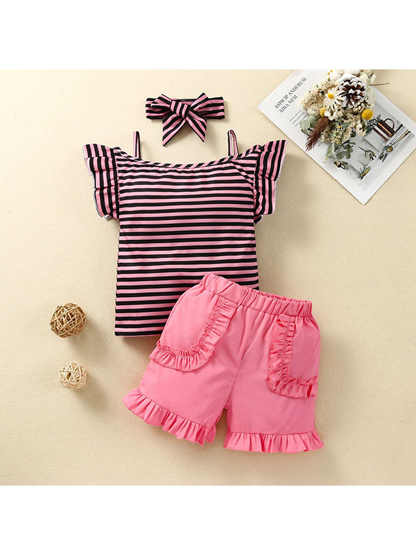 【12M-4Y】Girls Striped Short-sleeved Suspender T-shirt with Solid Color Shorts Suit