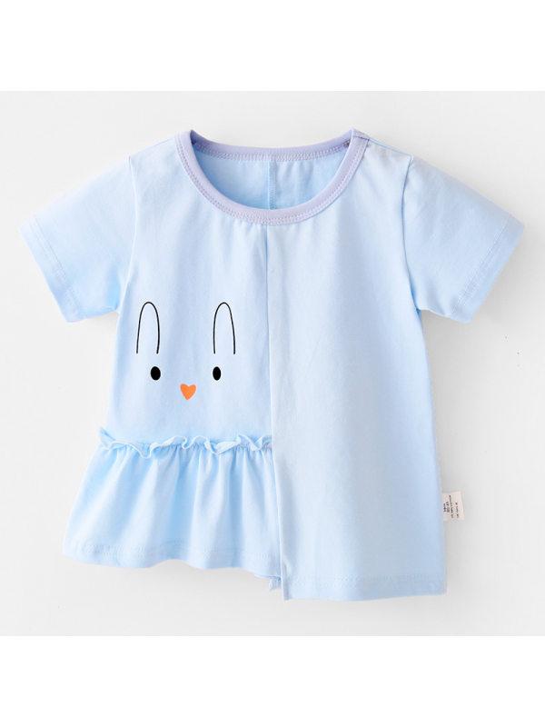【18M-7Y】Girls Cartoon Print Irregular Stitching Loose T-shirt
