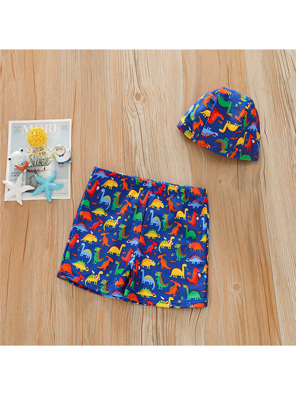 【4Y-13Y】Boys Print Swimsuit Shorts with Hat
