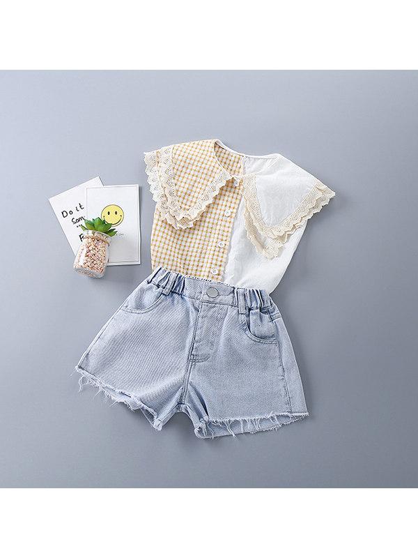 【2Y-9Y】Girls Plaid Color Block Shirt Denim Shorts Suit