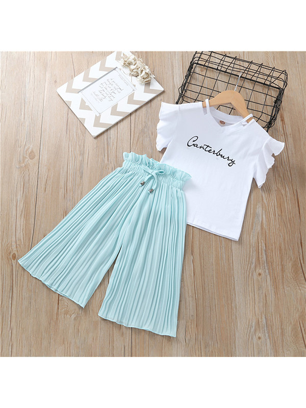 【3M-13Y】Girls Round Neck Flying Sleeve Letter Print with Chiffon Wide Leg Pants Set