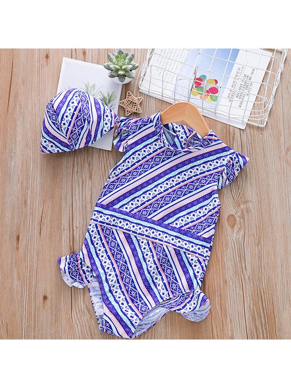 【18M-7Y】Girls Flying Sleeve Geometric Print One-piece Swimsuit