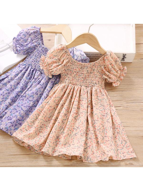 【18M-7Y】Girls Sweet Chiffon Floral Short Sleeve Dress