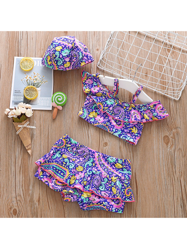 【18M-7Y】Girls Print Off-shoulder Sling Top with Ruffled Shorts Suit