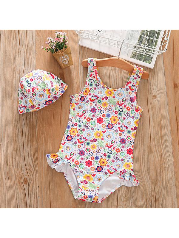 【18M-7Y】Girls Round Neck Sleeveless Printed One-Piece Swimsuit