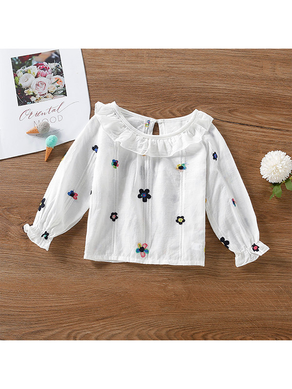 【18M-7Y】Girls Flower Embroidered Cute Shirt