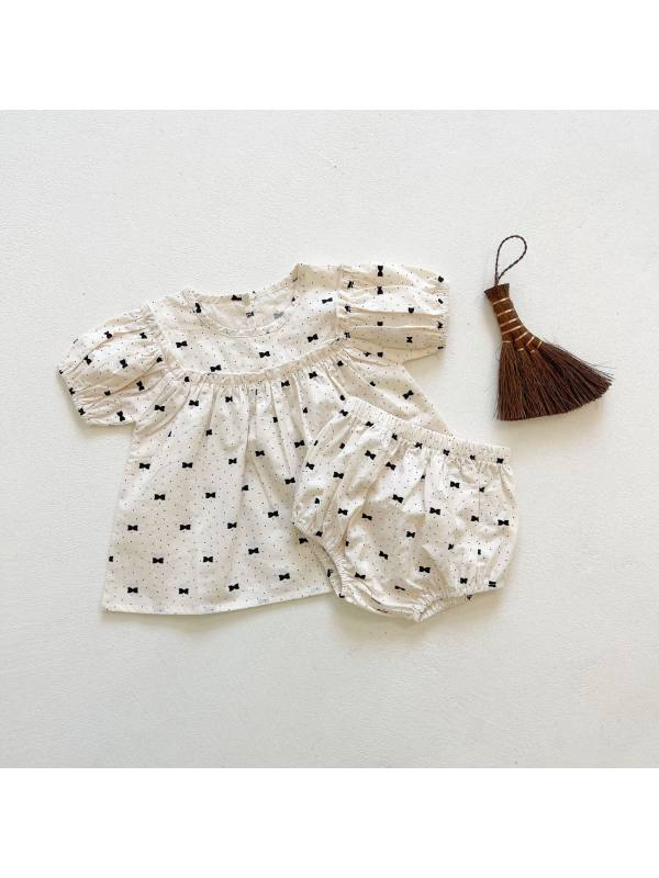【6M-3Y】Girls Bowknot Printed Dress Shorts Two-piece Set