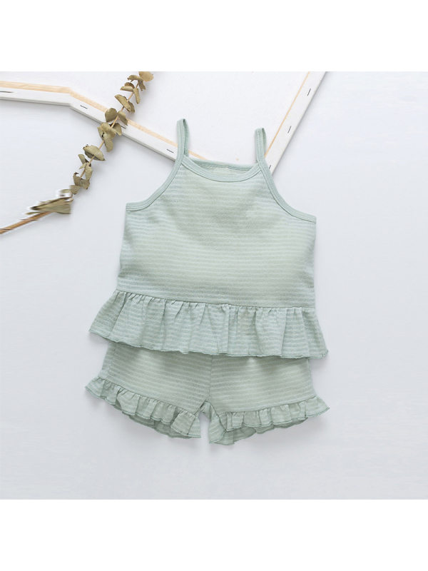 【18M-7Y】Girls Fashion Sling Top Shorts Two-piece Suit