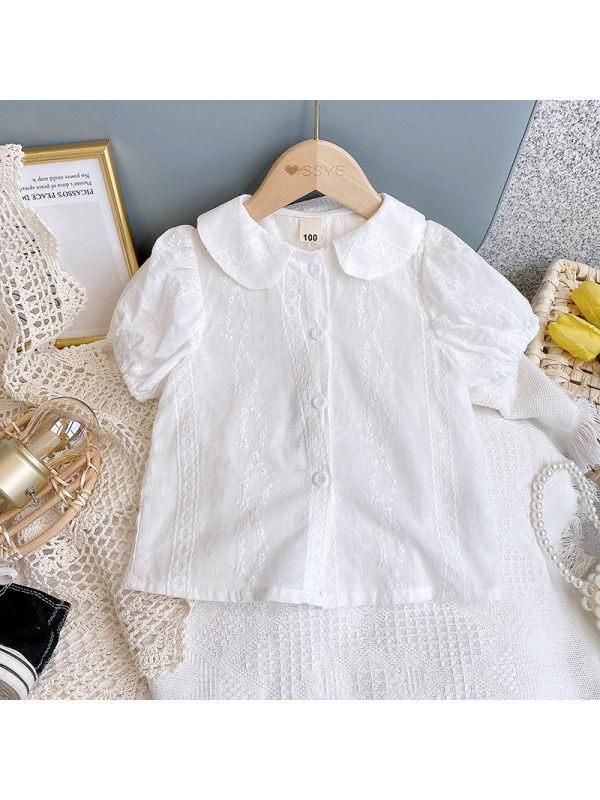【2Y-9Y】Girls Doll Collar Short Sleeve Shirt