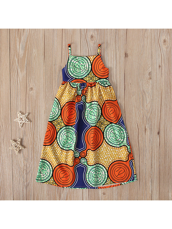 【18M-7Y】Girls Bohemian Style Suspender Halter Dress