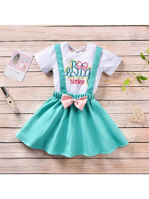 【12M-4Y】Girls Embroidered Short-sleeved T-shirt Suspender Skirt Suit