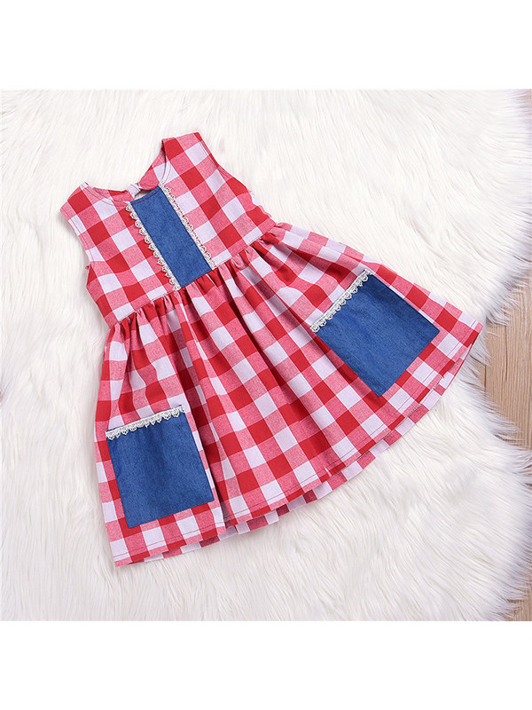 【18M-5Y】Girls Cotton Sleeveless Plaid Dress