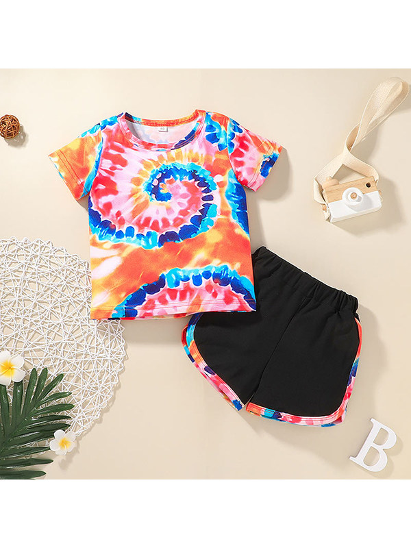 【12M-5Y】Girls Round Neck Short Sleeve Tie-Dye T-Shirt with Shorts Set